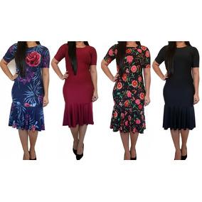 Vestido Feminino Midi Sereia Moda Evangélica Babado Sino