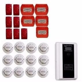 Kit Alarme De Incêndio Com Detectores De Fumaça E Acionadore