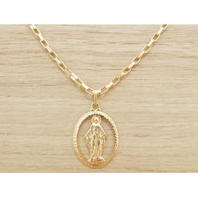 dcc01749a Medalha Nossa Senhora Das Graças E Corrente Cordão 60cm 3mm