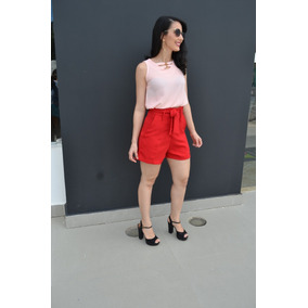 Conjunto Feminino Blusa Regata E Short Cintura Alta