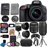 Kit Nikon D5600 16 Articulos Negro Dslr 18-55mm Vr, 70-300mm