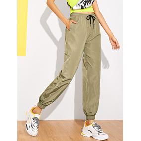 Pantalones Con Bolsillo Oblicuo De Cintura Con Cordón 0ae3a146163f