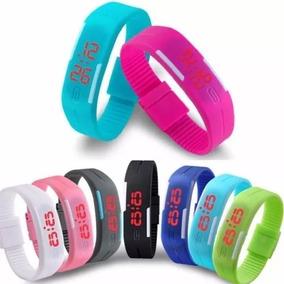 Relógio Led Digital Estilo Nike Pulseira Silicone Kit C\ 10