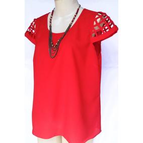 Blusa Crepe Vermelha Com Colar