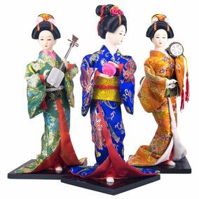 Boneca Oriental Japonesa Gueixa Altura 30cm Vários Modelos