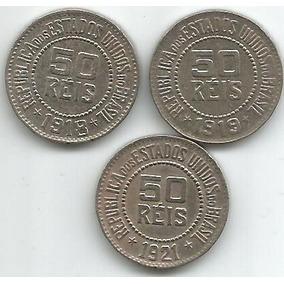 Egoto Insuperável-3 Moedas 50 Réis 1918,1919 E 1921 - D +++