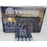 Pistola Airsoft Co2 Taurus Pt 92 Full Metal +5 Cilindros Co2