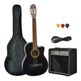 Guitarra Electro Criolla Con Corte Amplificador Funda Cable