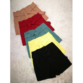Shorts Cintura Alta Feminino Bengaline Laço Roupas