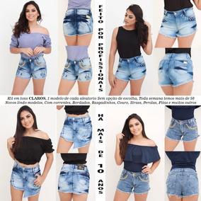 Short Jeans Roupas Femininas Lycra Rasgo Pedras Unli@ Shpm28