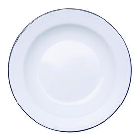 Prato Esmaltado Branco 22cm