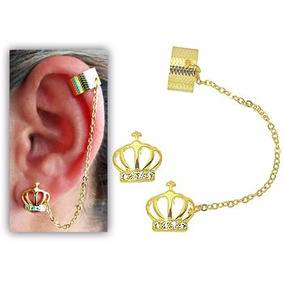 Brinco Ear Cuff Folheado A Ouro C/ Correntinha, Coroa E Zirc