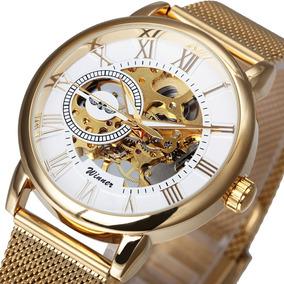 Relógio Skeleton Winner Mecânico Luxo Strap Thin Gold