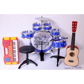 Kit Violão E Teclado + Bateria Acústica Infantil 6 Tambores