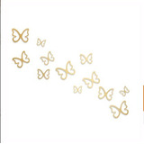 Mariposas 3d Dorada C. 12 Pzas