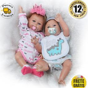 Bebês Reborn Gêmeos Em Silicone 50 Cm - Pronta Entrega a06d46f03e8