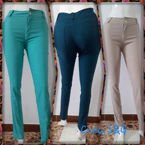 Pantalón Tipo Jeans Para Dama Corte Alto Tela Chicle Strech