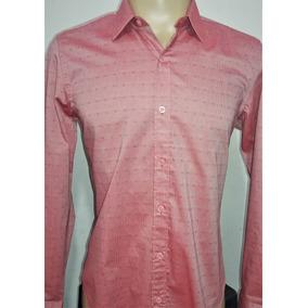 Camisa Social Masculina 100% Algodão Vermelho Claro Promoção