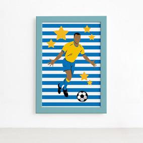 Placa Decorativa Mdf Jogador De Futebol Chute A Gol 20x30cm. 1 vendido -  São Paulo · Quadro Infantil Futebol Gol Jogador Azul 22x32 Moldura Azul 0390849a0f7de