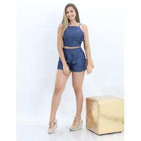 Conjunto Feminino Jeans Cropped E Short