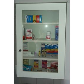 Armário Farmácia De Mdf Com Porta De Vidro Transparente