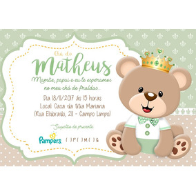 Convites Personalizados Chá De Bebê Ou Fraldas 100 Unidades