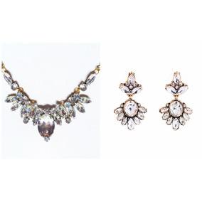 Maxi Colar + Brinco Luxo Festa Pedra Brilhante Diamante