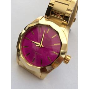 846fe898d5e Relogio Atlantis Feminino Dourado Com Fundo Rosa - Relógios De Pulso ...