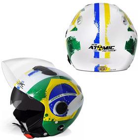 Capacete Aberto Moto Motoqueiro Atomic Brasil Viseira Solar