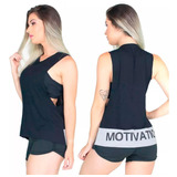Regata Camiseta Blusa Fitness Cavada Motivation Malhar 267