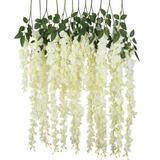 Set 12 Flores Artificiales Wisteria Decoración Evento Amyglo