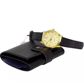 Kit Relógio Feminino Dourado + Carteira Barato Original