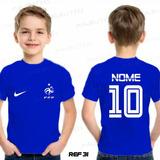 30a16f1414 Camiseta Infantil Seleção França Francesa Copa Personalizada