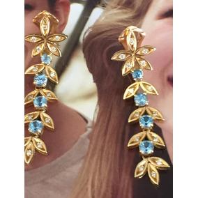 Brincos Ouro 18k-11.5gr. 45mm,topázio Naturais C/diamantes.