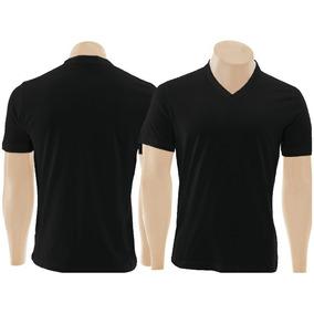 e9bae6966 Camiseta Gola V Preta Masculina Malha Fria - Calçados