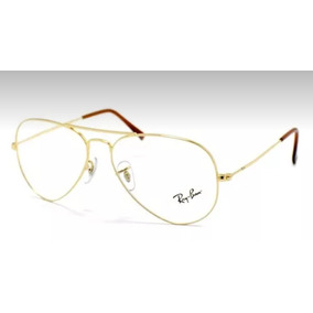 1356134f6feb5 Armação Óculos Grau Ray Ban Dourado Aviador 1266 Fio Nylon - Óculos ...