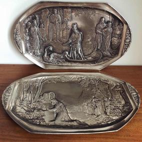 Antigo Raro Par Medalhões Pratos Travessas Prata Alemã Wmf