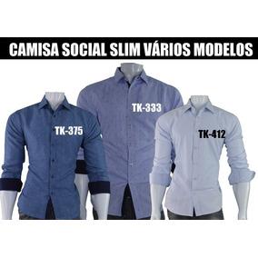 Kit Com 10 Camisas Slim Social Varios Modelos Atacado