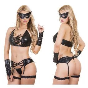 Disfraz Femenino De Gatubela Conjunto Sexy 6 Piezas Negro