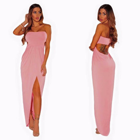 Maxi Dress Straple Rosa Escote Espalda Spandex Coctel