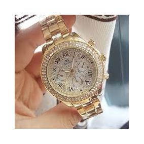 Relógio Feminino Yellow Gold Com Cristais