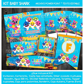 Kit Imprimible Baby Shark Invitación Etiquetas Topper Fiesta