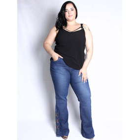 622fc1146735 Calça De Jeans Flare Feminina Plus Size Da Mix Jeans Saint Y