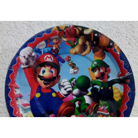 Mario Bros Luigui Paq 10 Platos Pasteleros Fiesta Nintento