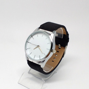 Relógio Casual Masculino Pulseira De Couro Preta Quartz + B