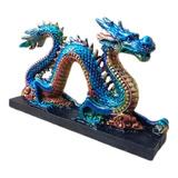 Dragão Chinês Do Mar Serpente Azul Base Estátua Decoração