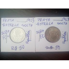 02 Moedas 500 Réis 1913 Prata Sob/fc República Estrela Solta
