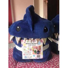 Manta Cobertor Infantil Tubarão Azul Dente Barbatana