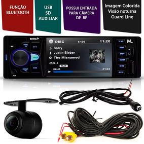 Kit Som Fusca Mp5 1din 4 Pol Usb Sd Bluetooth + Câmera De Ré