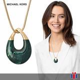 Michael Kors Collar Pendiente Jade Y Dorado - Original Nuevo
